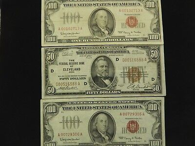 (2) 1966 Red Seal $100. Notes & 1929 $50. Cleveland National Currency - NR
