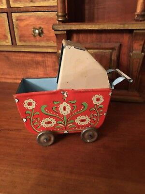 Vintage Dollhouse or Doll Miniature Lithographed Tin Baby Carriage Germany 1930s