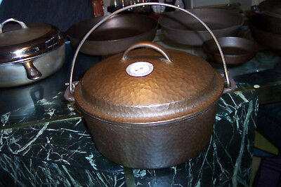 Extra Rare Vintage Hammered #8 Wagner Cast Iron Dutch Oven WithHeat Gauge VNIce