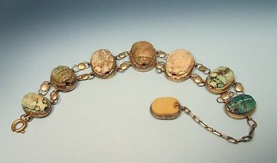 Antique Art Deco Egyptian Scarab Bracelet - Ancient Scarabs? Gilt Silver - $1NR