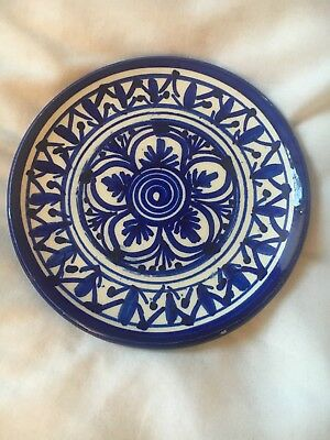 Pintado A Mano Spanish Pottery Small Wall Plate Handpainted Blue And White