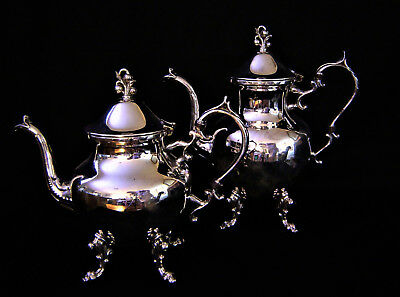Silverplated Teapot and Coffee Pot Circa 1880 Silver on Copper