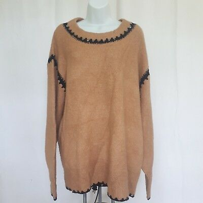 80b7b05a61 Zara Knit Oversized Tan Cable Knit Wide Crewneck Long Sleeve Sz Medium