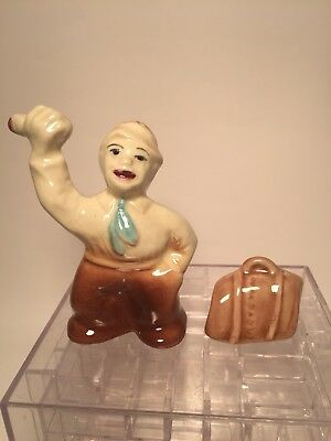 Vintage Hitchhiker with Suit Case Salt & Pepper Shakes