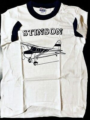 Vintage 80s Youth Kids Stinson Plane Ringer T-Shirt Aviation Flying 108