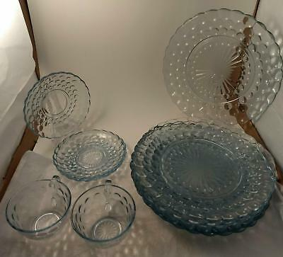 Vintage Dinner Plates, saucers, cups - Ice Blue-Anchor Hocking Bubble Glass