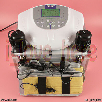 LCD Pro Dual Ionic Detox Foot Bath Cell Cleanse Spa System 5 Modes 2 Fir Belts