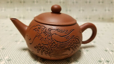 Chinese Yixing Zisha Clay Teapot With Dragon And Characters Carved