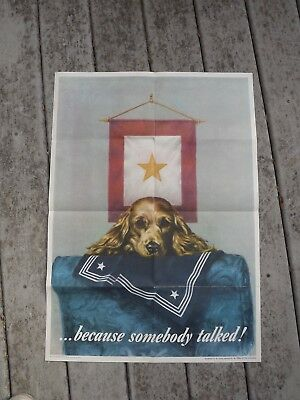 1944 Vintage Us Wwii Because Somebody Talked Gold Star & Dog Poster