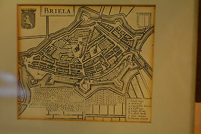 A Desirable 17 century map or plan of the city of BRIELLA, Amsterdam Netherlands