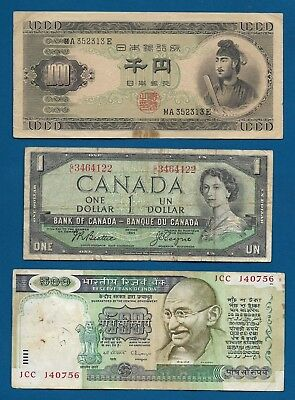 17x World Banknotes Japan, Canada, India, MIsc. Other See All Scans Lot 3O-69