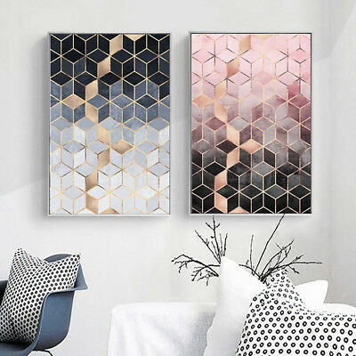 HK- Nordic Style Wall Art Poster Gradient Cubes Painting Living Room Home Decor