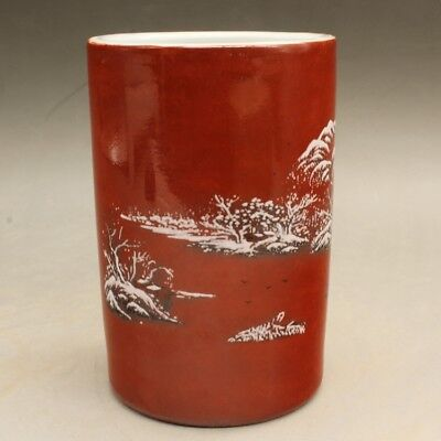 Chinese old porcelain famille rose snow-covered landscape brush pot c01