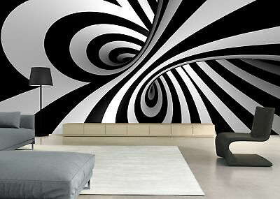 Black and white 3D swirl  Self-adhesive TV Background Wallpaper Mural Room Decor