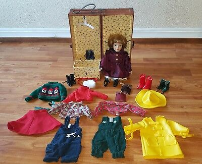 VINTAGE WOOD WARDROBE DOLL TRUNK--WITH DOLL 16 piece accessories