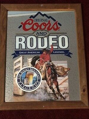 Coors Rodeo Glass Sign / Mirror beer Rocky Mountain Legend vintage cowboy bronc