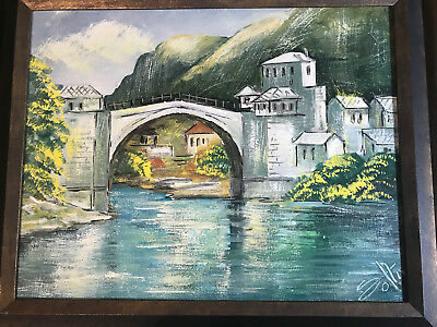 "Nice ""Stone Bridge And Village Scene"" Oil On Canvas Painting - Signed And Framed"