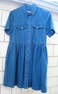 Eddie Bauer Woman's Blue Denim Dress SZ M/M Full Silver-like Button Front + Trim