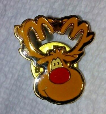 McDonald's Christmas lapel hat Pin Rudolph Red Nose Reindeer enamel