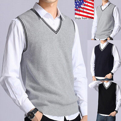 US Mens Sweater Knitted Vest Warm Wool V-Neck Sleeveless Pullover Tops Shirt lot