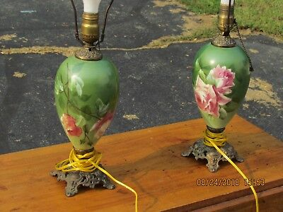 Pair of Antique Painted Glass Electric Lamps Roses Newly rewired
