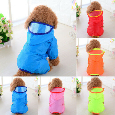 Pet Dog Rain Coat Clothes Puppy Casual Waterproof Jacket Hooded Raincoat