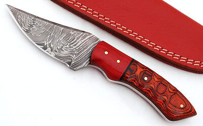 Custom Fire Strom  Damascus Steel Drop Point  Knife F90 micarta Handle