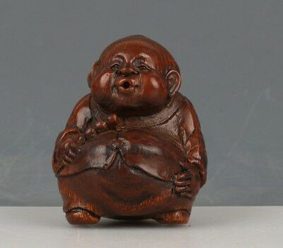 Chinese Exquisite Hand-carved the ancients carving Bamboo root statue