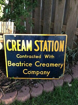 Beatrice Creamery Company Cream Station Sign Advertising