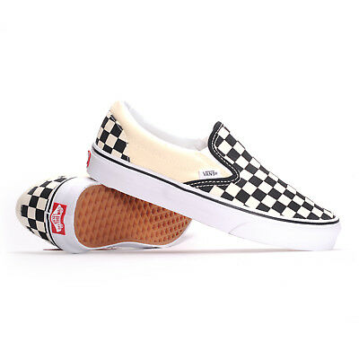 Vans Classic Slip-On (Black & White Checkerboard/White) Men's Skate Shoes