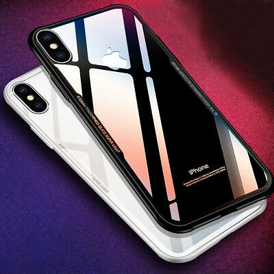 For iPhone XS XS MAX XR X Tempered Glass Back Luxury Silicone Clear Case Cover