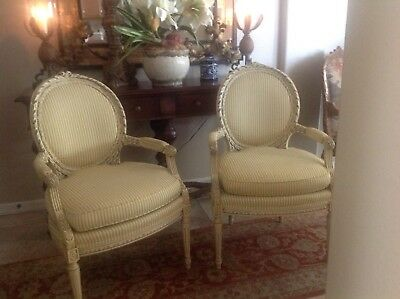 Pair French Chairs Louis XVI  Style Bergere Antique