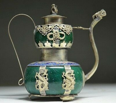 china old copper plating silver DRAGON INLAID JADE CARVED MONKEY TEAPOT