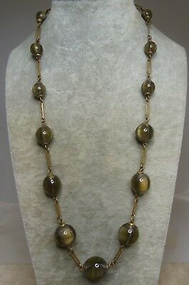 """Vintage Antique 20"""" Olive Green Cats Eye Art Glass Bead Necklace"""