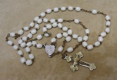 Vintage Antique Germany Faux Mother Of Pearl & White Glass Rosary Beads