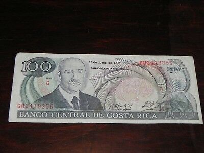 Costa Rica 100 Colones Banknote 1992 P-258 Circulated JCcug 18806