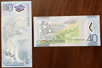 Solomon Islands 40 Dollars 2018 UNC**New Polymer - Replacement X/1