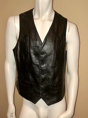 VINTAGE H BAR C CALIFORNIA RANCHWEAR BLACK LEATHER VEST SZ L  ROCKER Folsom 42