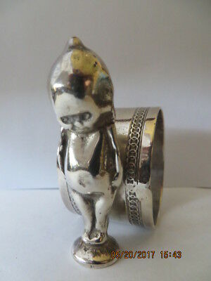 Antique 1900's Silver Plated Napkin Ring Cupie Doll or Alien, Chain Links