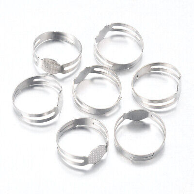 50PCS Iron Pad Ring Base Finding Adjustable For Cabochon Jewelry Making Platinum