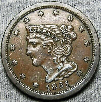 1851 Braided Hair Half Cent --- STUNNING 1 After date misplaced date --- #A831