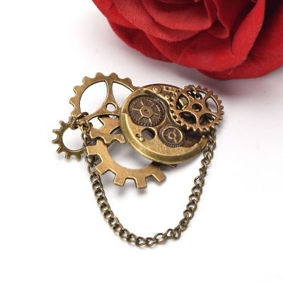 Steampunk Brooch Gear Chain Pattern Vintage Medieval Victorian Breast Pin 1PC