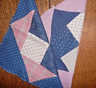 Antique Vintage Lot of 2 SQUARE in a SQUARE/BOXES Quilt Blocks