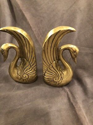 Vintage Solid Brass Swan Bookends