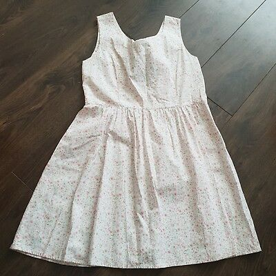 Sleeveless dress white with pink Blossom Print summer size 12 uk womens ladies