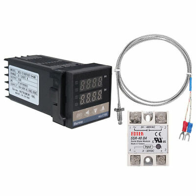 Digital LCD PID REX-C100 Temperature Controller Set with K Thermocouple 40A SSR