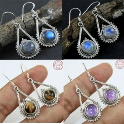 "Solid 925 Sterling Silver Multi Gemstone Dangle Earring Sz 2"" Jewellery Az-212"