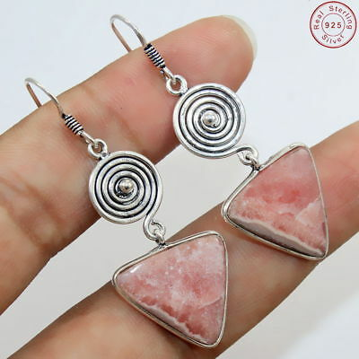 "Solid 925 Sterling Silver Natural Rhodochrosite Earring Jewellery S 2"" Az-593"