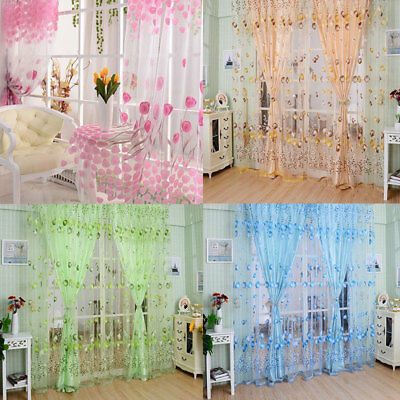 Tulle Curtains Scarf Tulip Flower Window Voile Sheer Curtain Living Room 2m f9w8