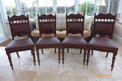 Set Of 4 Antique Victorian Carved Wooden Dining Chairs